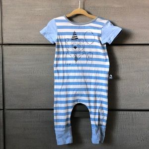 RAGS blue stripe with retired Birthday Bear print
